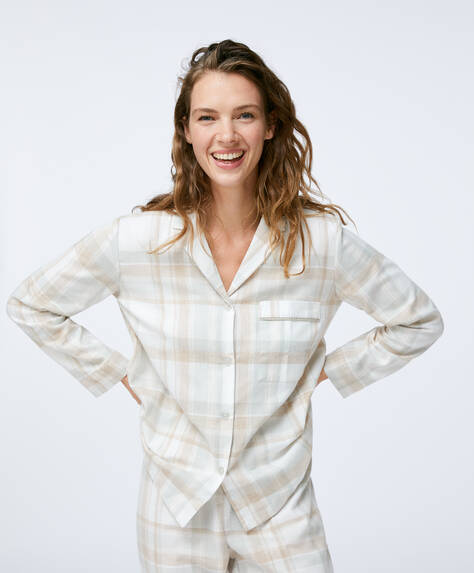 100% cotton grey check shirt