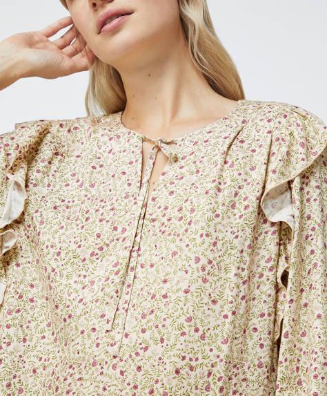 Ditsy floral ruffle shirt