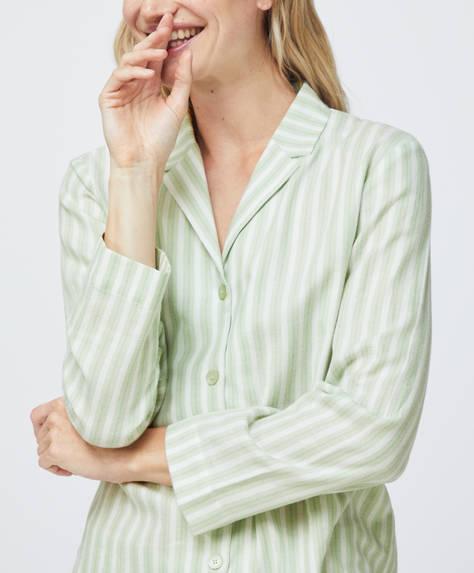 Camisa 100% algodão às riscas verdes