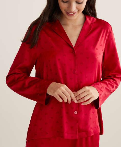 Chemise rouge à cœurs