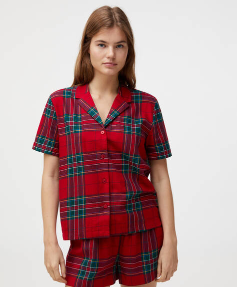 100% cotton red check short-sleeved shirt
