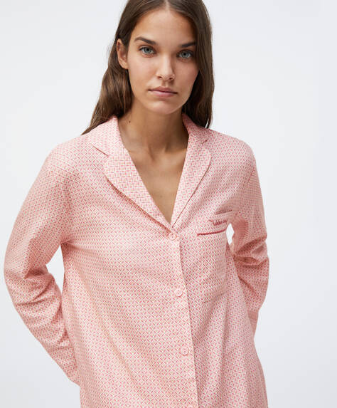 Pink cotton shirt with intricate print