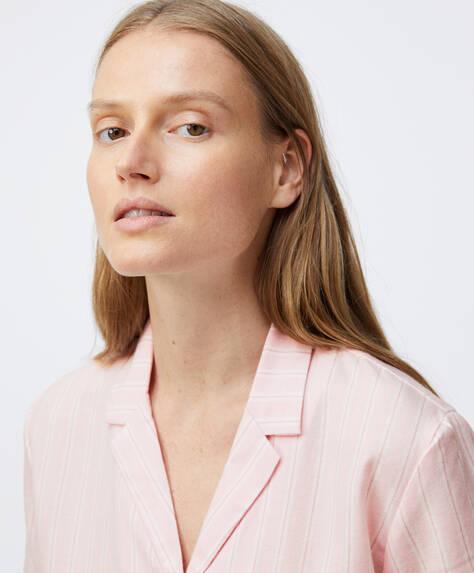 Camisa corta 100% algodón cuadros rosas