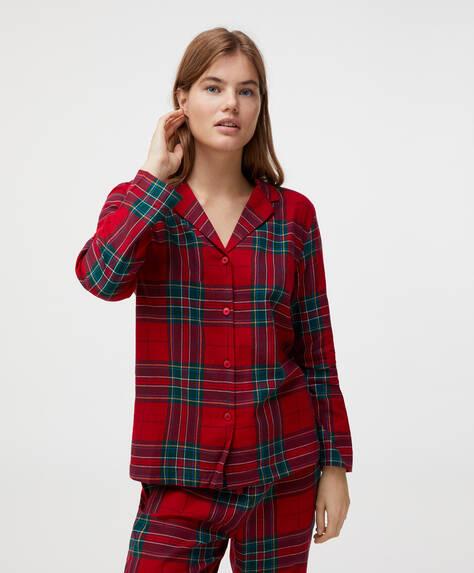 Oberteil aus 100% Baumwolle mit rotem Tartanprint