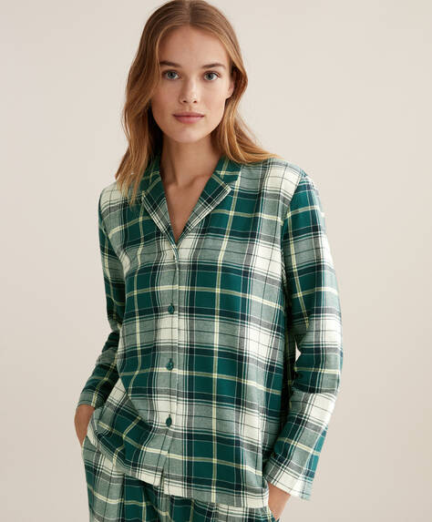 100% cotton green check shirt