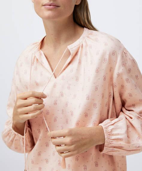 قميص قطني مطبع بأزهار
