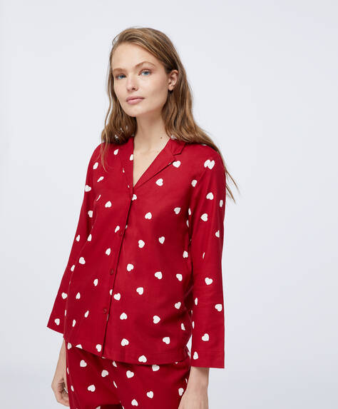 Red cotton shirt with hearts