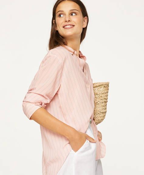 Ριγέ ροζ πουκάμισο