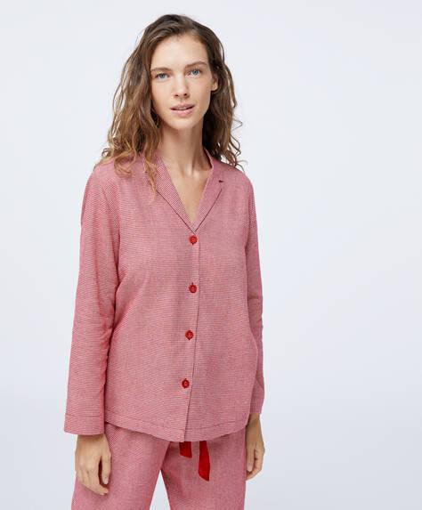 Camisa 100% algodón pata de gallo rojo