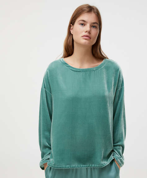 T-shirt aveludada em seda turquesa