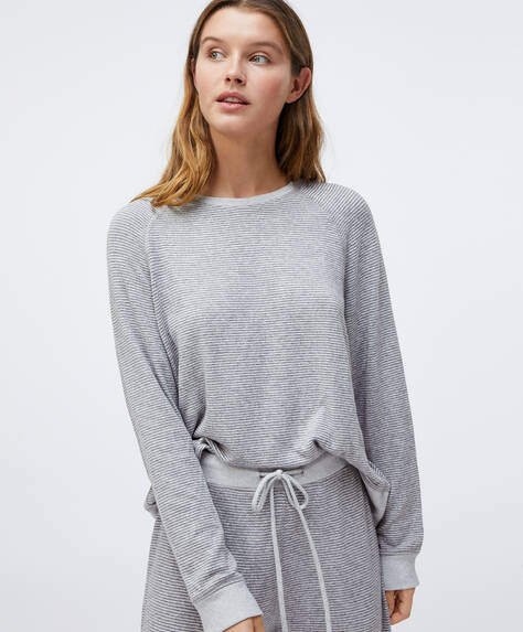 Stribet sweatshirt, comfort feel