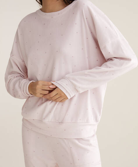 Mauve polka dot polar fleece sweatshirt