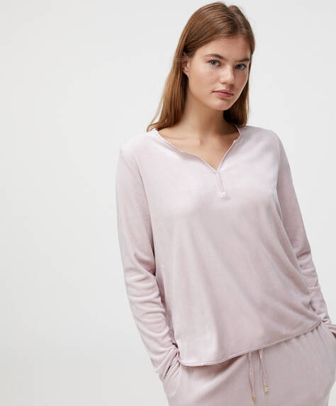 Mauve velour fleece T-shirt