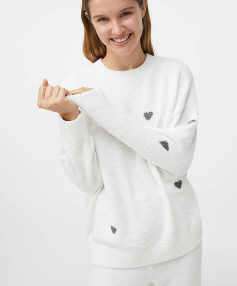 Grey heart fleece sweatshirt