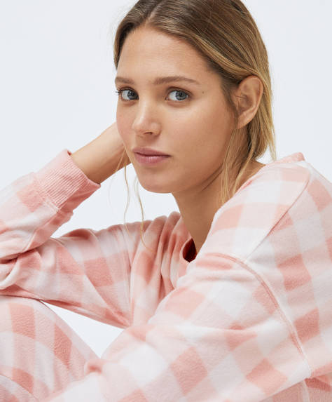 Pink gingham-style check fleece sweatshirt