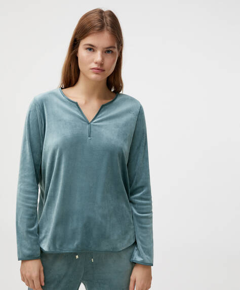 Ensfarvet T-shirt i fleece og velour