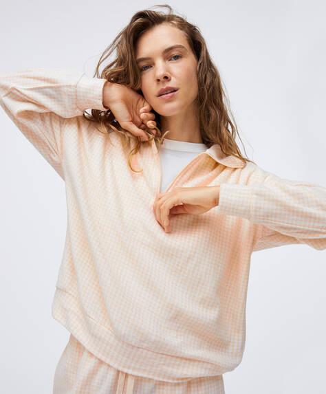 Oatmeal gingham-style sweatshirt