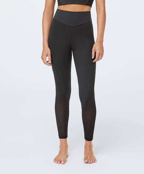 Shapewear leggings with sheer panels