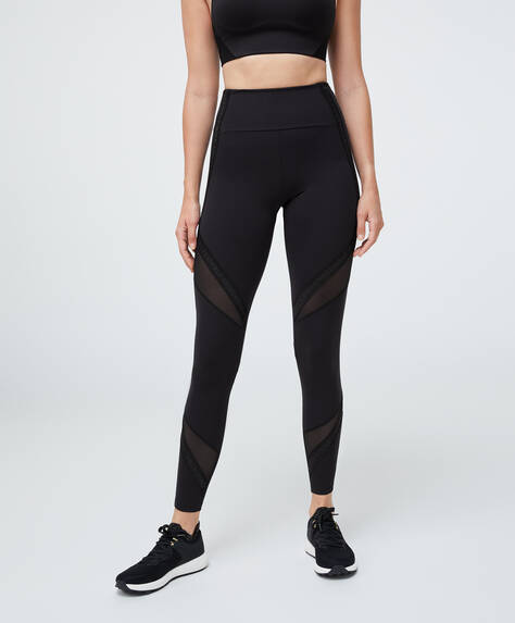 Mesh slogan compression leggings