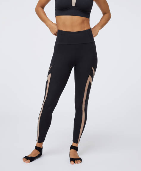 Sheer panel compression leggings