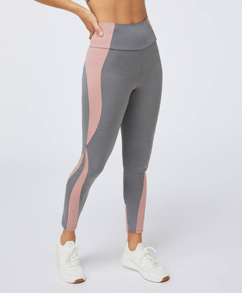 Pink block compression leggings