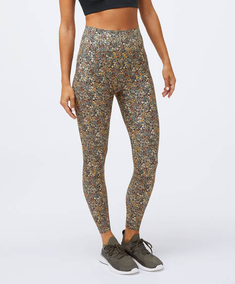 Compression leggings with dark ditsy floral print