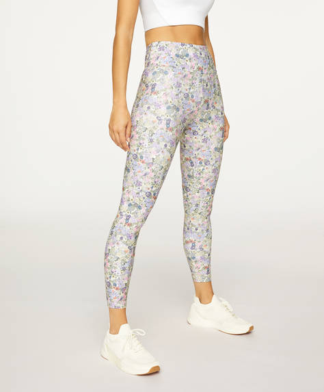 Leggings com estampado de flores malva