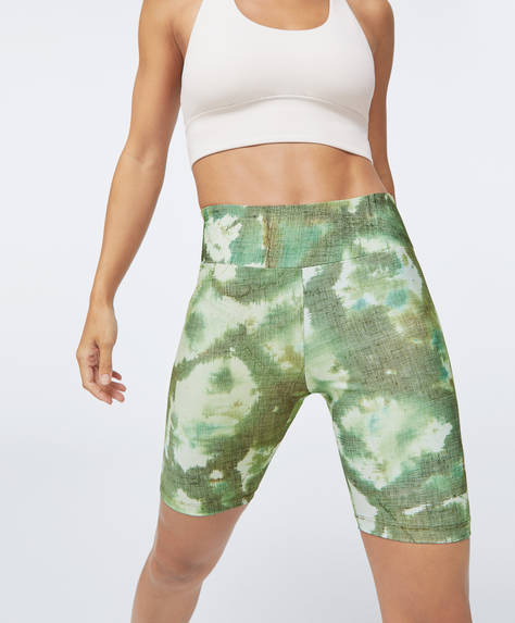Green tie-dye cycle leggings