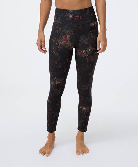 Compression leggings with winter floral print