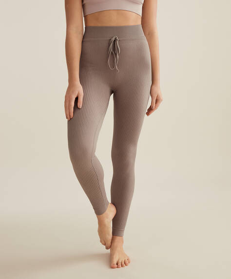 Seamless ribbed drawstring leggings