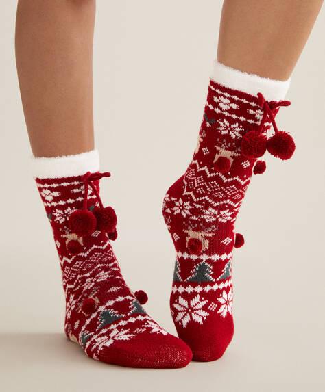Jacquard Christmas reindeer socks