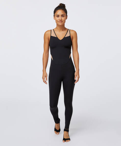 Sheer panel compression jumpsuit