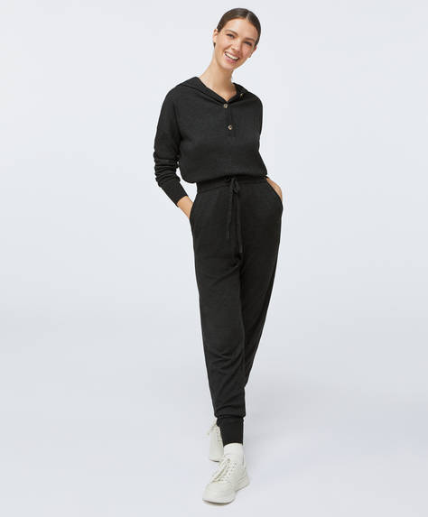 Long fine-knit jumpsuit