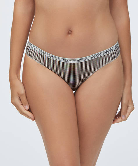 3 gingham and polka dot Brazilian briefs
