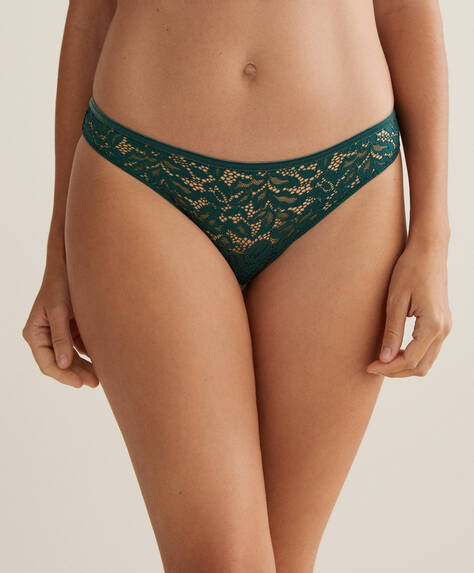 3 lace and velvet Brazilian briefs