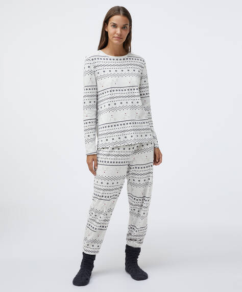 Jacquard cotton pyjama pack