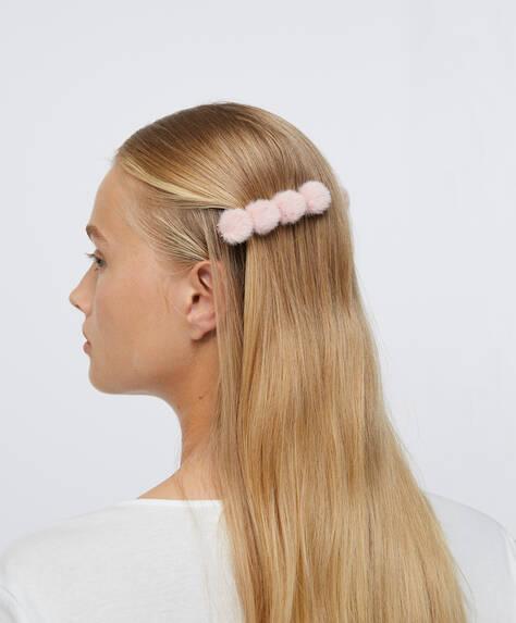 2заколки для волос с помпонами