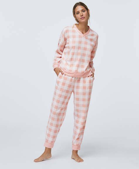 Pink gingham-style check fleece trousers