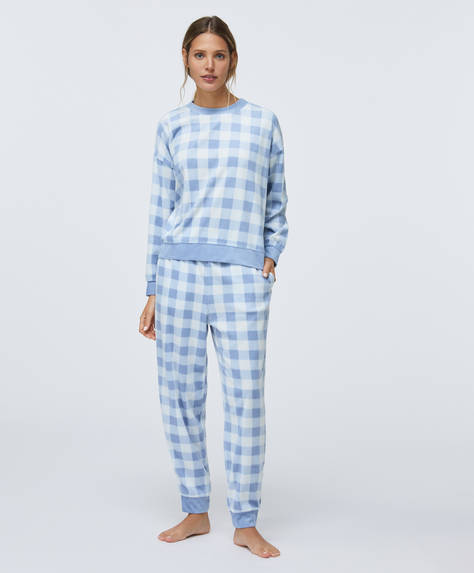 Blue gingham-style check fleece trousers
