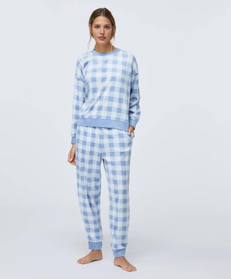Pantalón polar cuadro vichy azul