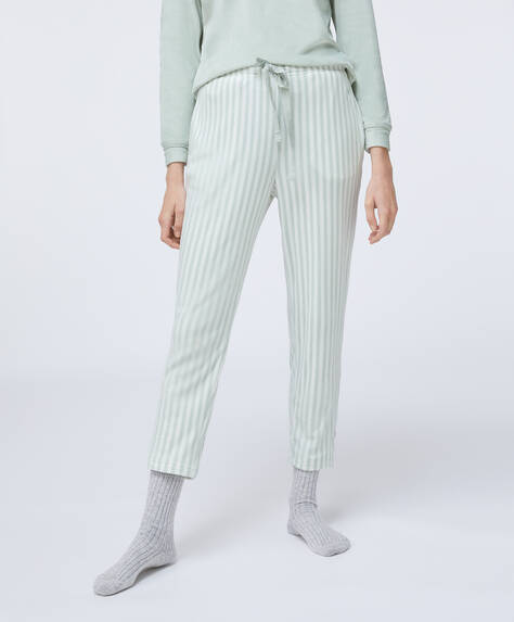 Striped green fleece trousers