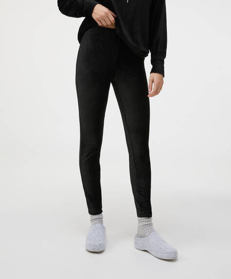 Plain black fleece leggings