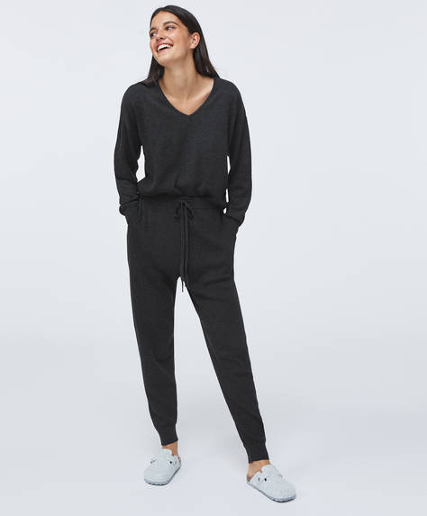 Fine rib-knit trousers