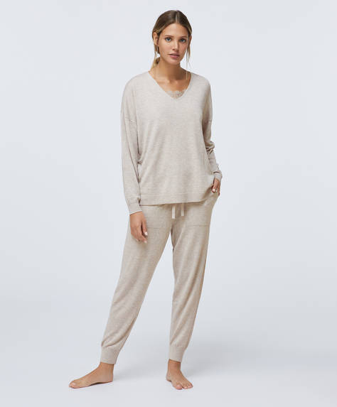 Fine-knit cuffed trousers