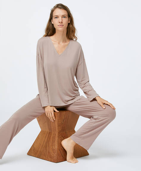 Taupe soft touch trousers