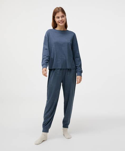 Pantalón 100% algodón nubes