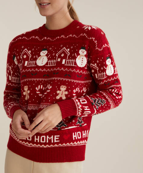 Sweater med julemotiv og jacquard pyntestriber