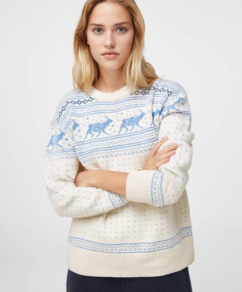 Pulover de Crăciun cu jacard și reni