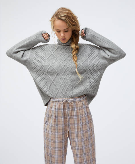 High neck knitted pattern jumper