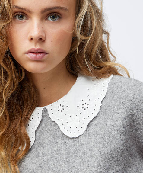 Knit jumper with Peter Pan collar